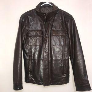 DANIER Rustic Brown Leather Zip Up Utility Jacket
